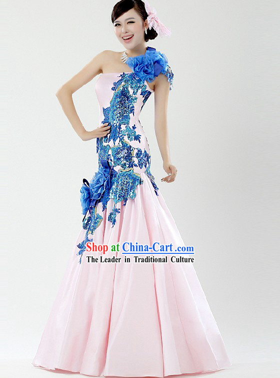 Chinese Light Pink Wedding Evening Dress