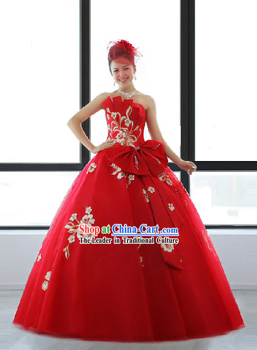 Chinese Modern Lucky Red Wedding Evening Dress