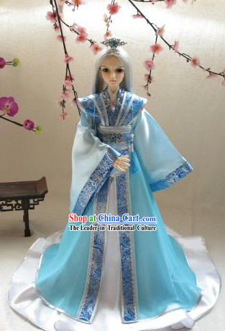Ancient Chinese Blue and White Hanfu Clothing for Men