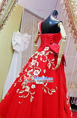 Stunning Red Romantic Flower Chinese Wedding Evening Dress for Bride