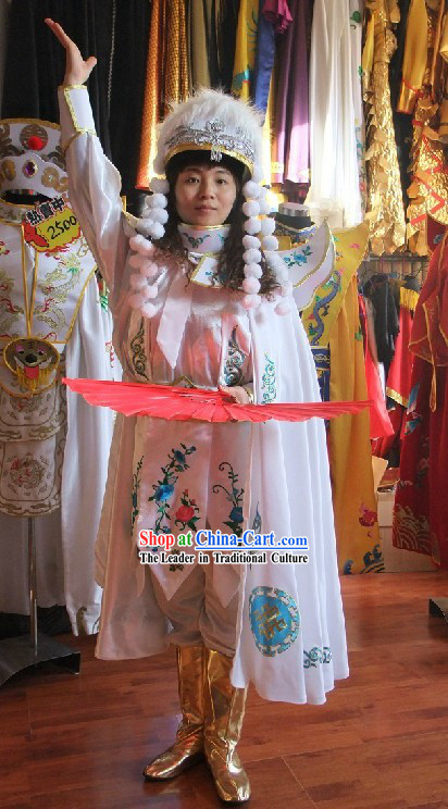 Chinese White Mask Changing Costumes Hat Boots Masks Complet Set for Women