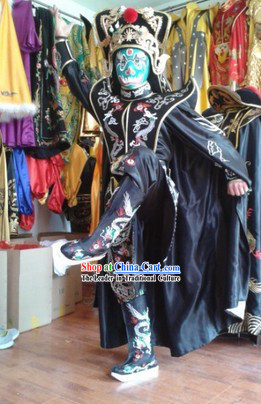 Traditional Chinese Black Dragon Mask Change Costume Hat Boots Masks Complet Set for Men