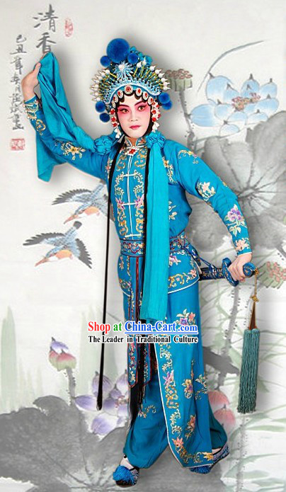Chinese Peking Opera Blue Dance Costumes and Hat Complete Set