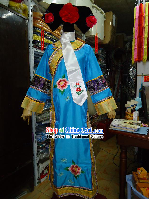 Ancient Chinese Palace Blue Costume and Hat Complete Set