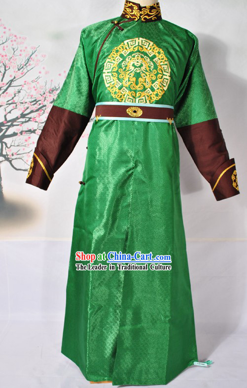 Ancient Chinese Green Prince Embroidered Dragon Costumes