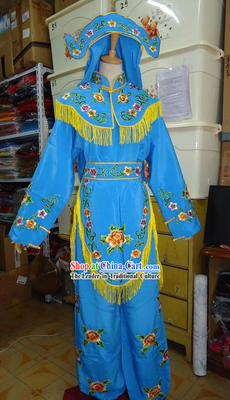 Ancient Chinese Blue Opera Costume and Hat for Women