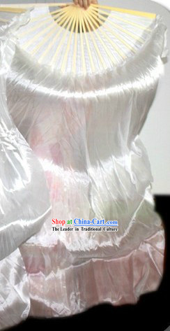 Pure White Chinese Silk Ribbon Dance Fan