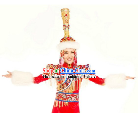 Ancient Mongolian Empress Clothing and Hat for Women