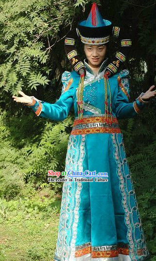 Traditional Chinese Mongolian Female Clothing and Hat