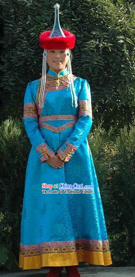 Traditional Mongolian Clothing and Headpiece for Women