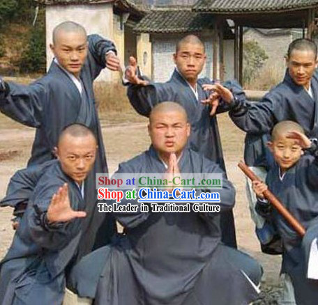 Chinese Shaolin Temple Dark Blue Kung Fu Robe for Men