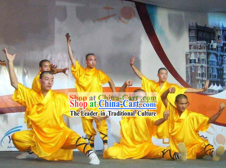 Chinese Shaolin Temple Yellow Kung Fu Clothing for Men