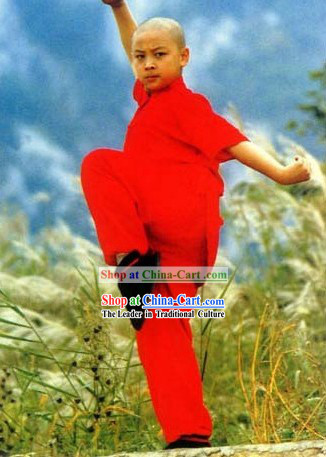 Chinese Red Shaolin Temple Kung Fu Uniform for Boys