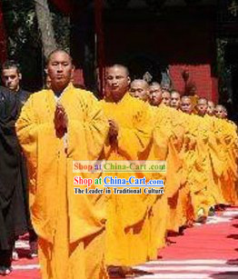 Traditional Chinese Shaolin Temple Yellow Kung Fu Long Robe
