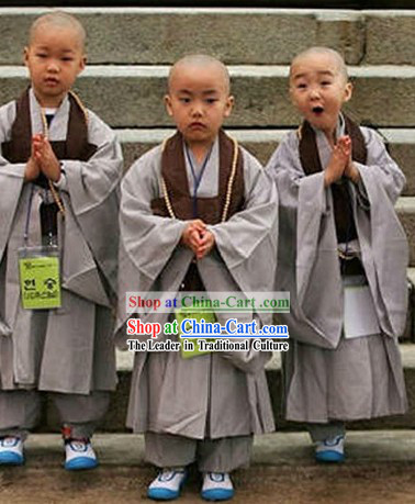 Traditional Chinese Shaolin Temple Grey Kung Fu Clothes for Kids