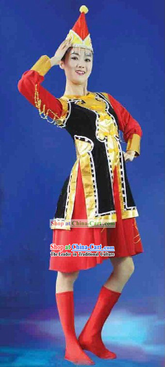 Traditional Chinese Mongolian Dancing Costumes and Hat for Women