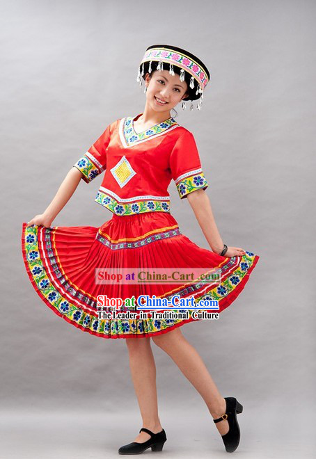 Chinese Miao Minority Stage Performance Dance Costume and Hat for Women