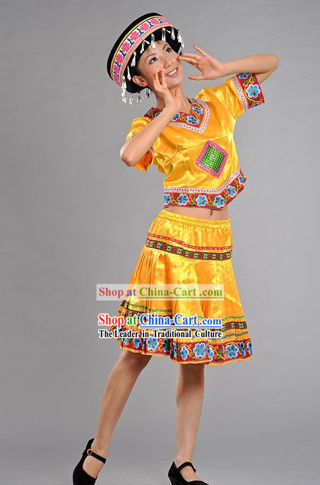 Chinese Miao Minority Stage Performance Dance Costumes and Hat for Women