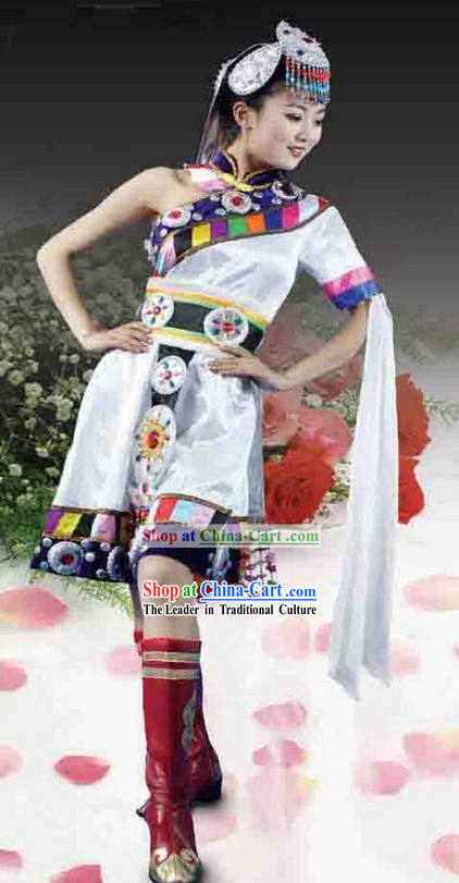 Chinese Tibetan Ethnic Stage Performance Dance Costumes and Headpiece for Women