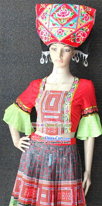 Chinese Zhuang Ethnic Clothing and Hat for Girls