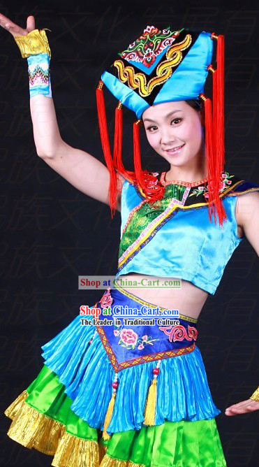 Chinese Zhuang Ethnic Clothes and Hat for Women