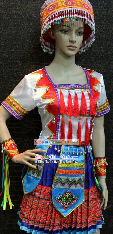 Chinese Miao Ethnic Clothes and Hat for Women