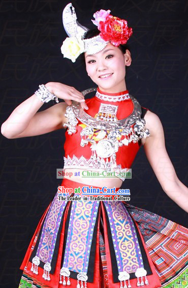 Chinese Miao Ethnic Dance Costumes and Hat for Women