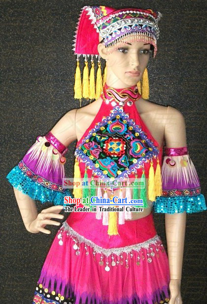 Chinese Ethnic Dance Costumes and Hat for Women