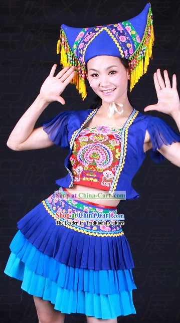 Chinese Zhuang Ethnic Dance Costumes and Hat for Women