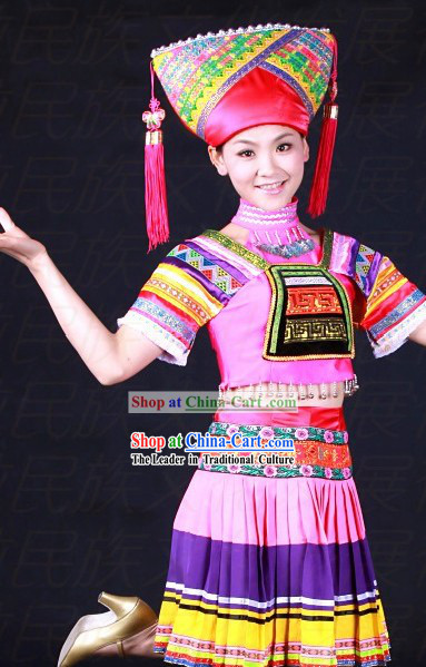 Chinese Zhuang Ethnic Dance Costumes and Hat for Girls