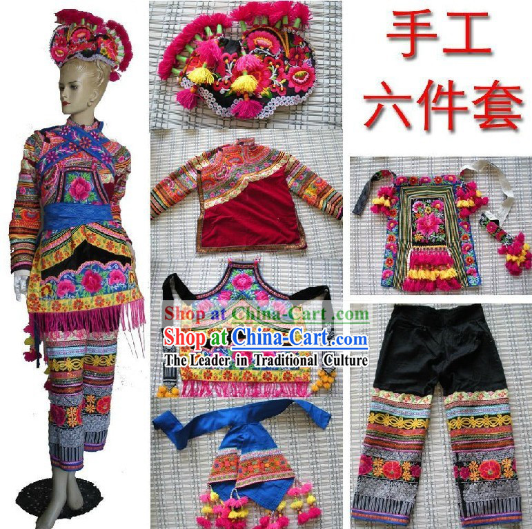 Traditional Chinese Yi Minority Bride Wedding Dress and Hat for Women