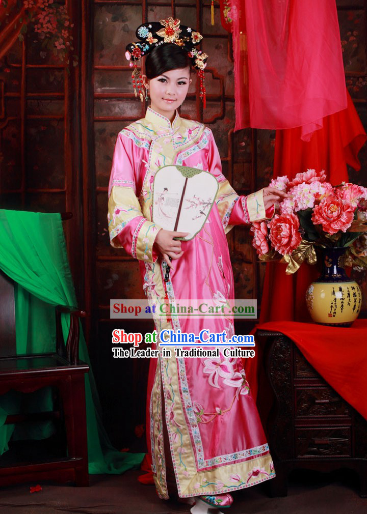 Ancient Chinese Qing Dynasty Pink Princess Embroidered Clothes and Shoes for Women