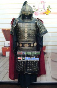 Ancient Chinese Three Kingdoms Fighter Costumes and Helmet for Men
