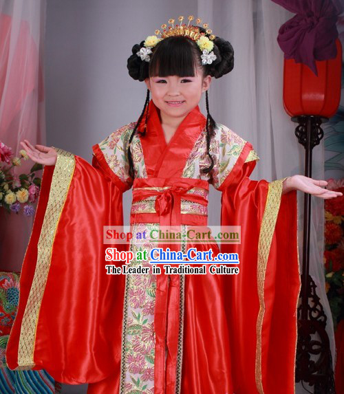 Ancient Chinese Red Han Dynasty Clothes for Kids