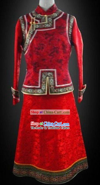 Chinese Classical Red Mongolian Clothes Complete Set