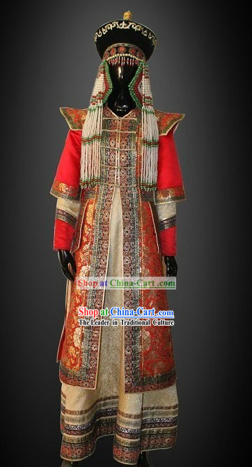 Traditional Chinese Mongolian Princess Clothing and Hat Complete Set for Women