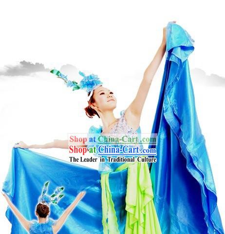 Traditional Chinese Blue Fan Dance Costume and Headpiece for Women