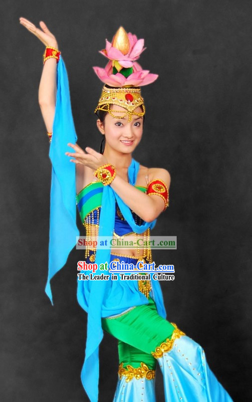 Lian Hua Wu Ancient Chinese Palace Lotus Dance Costumes and Hair Accessories for Women
