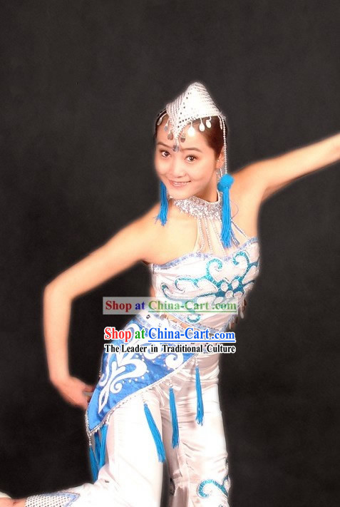 Traditional Chinese Stage Performance Minority Dance Costume and Hat