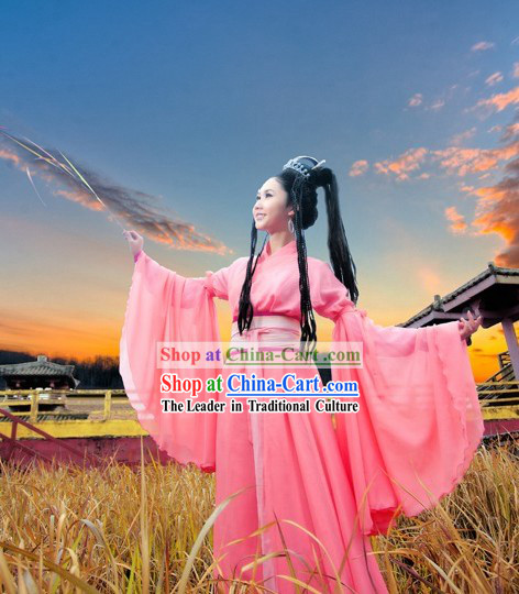 Ancient Chinese Pink Swords Woman Hanfu Clothes