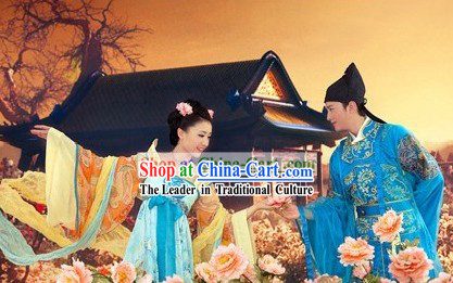 Ancient Chinese Tang Dynasty Wedding Couple Two Complete Sets for Men and Women