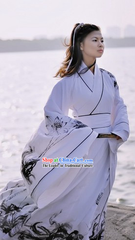 Ancient Chinese Hand Painted Lotus Hanfu Clothing Complete Set for Women