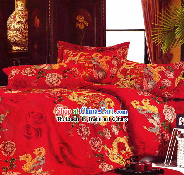Chinese Classical Dragon and Phoenix Wedding Sheet Four Pieces Wedding Set