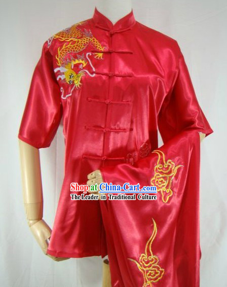 Chinese Classical Red Embroidered Dragon Kung Fu Uniform for Women