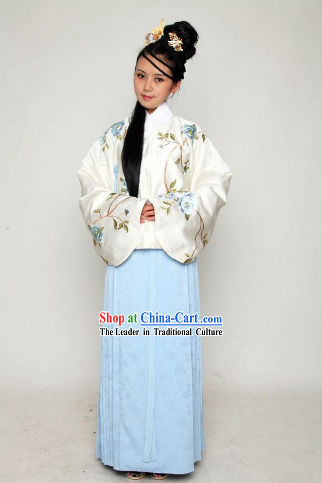 Ancient Chinese Ming Dynasty Embroidered Flower Clothes Complete Set for Women
