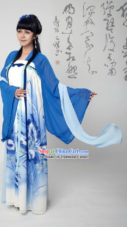 Ancient Chinese Tang Dynasty Blue Clothing Complete Set for Women