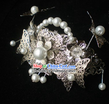 Chinese Classical Handmade Wedding Veil Crown Hair Accessories