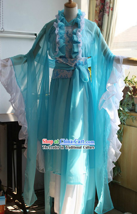 Ancient Chinese Light Blue Hanfu Clothing for Women