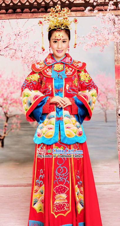 Chinese Classical Xiu He Style Auspicious Embroidered Wedding Dress for Brides