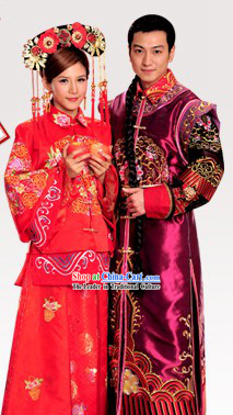 Ancient Chinese Princess  and Her Bridegroom Wedding Dresses Complete Set